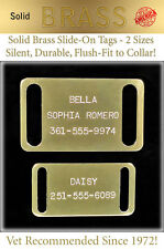 Large Solid Brass Slide-On Collar Pet Dog Identification Name Tags-Custom Id Tag