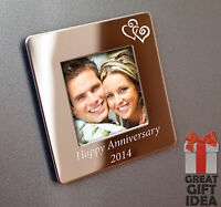 Personalised Metal Fridge Magnet Photo Frame Engraved Free - Wedding,Anniversary