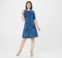Isaac Mizrahi Live! Mixed Ditsy Floral Fit & Flare Knit Dress - Blue - Large