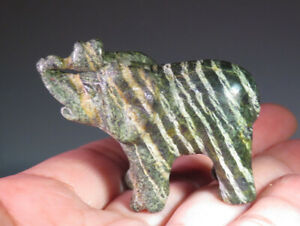 "1.8"" Natural Green Zebra Jasper Serpentine Gemstone Elephant Carving *7316"