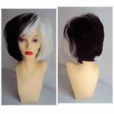 Short Wavy Curly Wig Half White Black Two Tone Synthetic Hair Cosplay Party Wigs