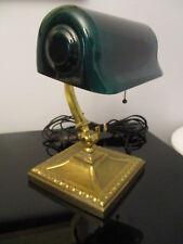 New listing Antique Verdelite Emeralite Era Bankers Desk Piano Light Lamp Green Glass Shade!
