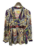 Johnny Was Multicolor Long Sleeve 100% Silk Blouse Women's Size Small V Neck .