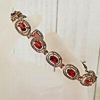Vintage Garnet Art Deco Woven Basket 925 Sterling Silver Link Bracelet