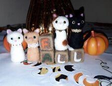 "OOAK 3"" Needle Felted Happy Fall Thanksgiving 4 Cats Kittens 8pcs Set"