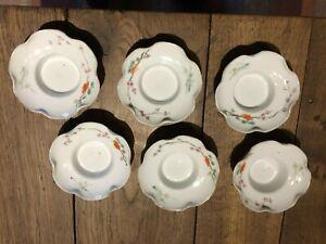 lot de 6 curieuses soucoupes chine peintes a la main motifs floraux  19 eme