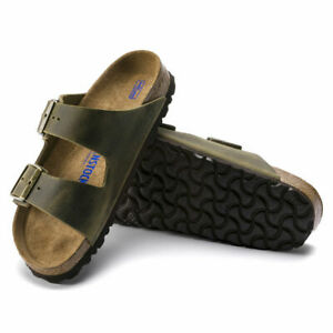 NEW BIRKENSTOCK MEN ARIZONA SANDAL REGULAR SOFT FOOTBED JADE LEATHER 1014451