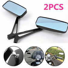 Y Black Motorcycle Rectangle Mirrors For Softail Sportster Chopper Bobber