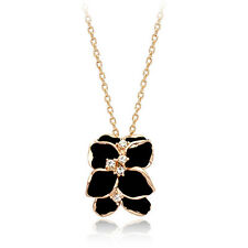 18K Rose Gold Plated Simulated Agate & Diamond Black Leaf Branch Necklace