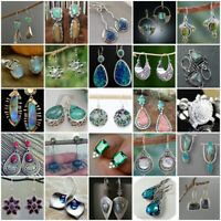 Fashion 925 Silver Earrings Amethyst Moonstone Turquoise Opal Ear Hook Stud