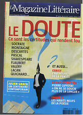 MAGAZINE LITTERAIRE N°499 2010  LE DOUTE