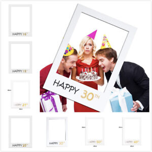 Happy 16/18/21/25/30/40/50 Birthday Frame Photo Booth Props Photo Picture Frame