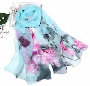 Foulard Vaporeux Femme Bleu et Rose Imprimé Fleurs - Bijoux des Lys