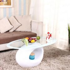 Modern Design White Oval Coffee Table Tempered Glass Fibreglass Base Living Room