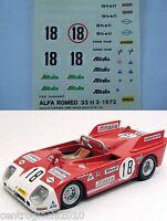 DECALS KIT 1/43 ALFA ROMEO 33 TT 24 ORE LE MANS 1972 DE ADAMIC-VACCARELLA