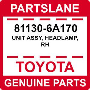 81130-6A170 Toyota OEM Genuine UNIT ASSY, HEADLAMP, RH