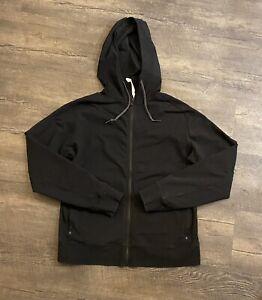 Lululemon Men's Hoodie Jacket XL Black Full Zip Hood Drawstring Athletic