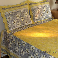 Bedspread Reversible Cotton Quilted Bedspread 3PCS Set In Bright Yellow Queen