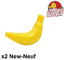 Lego - 2x banana banane fruit jaune/yellow 33085 NEUF