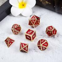7Pcs/Set Metal Polyhedral Dice DND RPG MTG Role Playing and Tabletop Games,RED