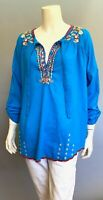 💕JOHNNY WAS Cotton DRAGONFLY BLOUSE Tie Neck EMBROIDERED Top TUNIC L $260 💕