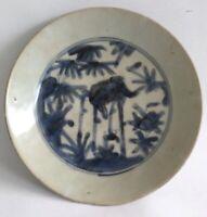 China 17th Century Ming Wanli 萬暦 Blue White Deer Motif Fujian Kiln Plate