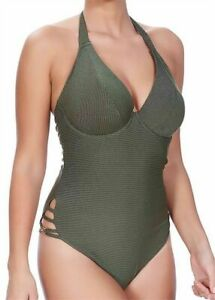 Freya Glam Rock Swimsuit 38C 16 Underwired Padded Halter Bra Olive Gold 3824