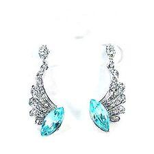 Boucles d'oreilles argentés pendante, cristal bleu, strass, bijoux fantaisie