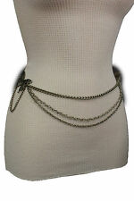 Women Belt Fashion Vintage Silver Metal Chains Butterfly Side Waves Charm XS S M