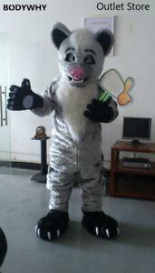 Gray Long Fur Husky Wolf Dog Mascot Costume Cosplay Outfit Fursuit Halloween