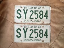 Matching Pair 1965 Illinois Vehicle License Plates - IL - Vintage - Tags - Plate