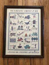 Vintage 1987 Catherine Grunewald Large Framed The Folk Art Sampler Quilt Print