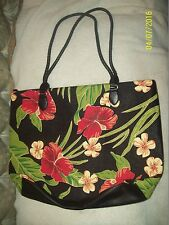 """Ladies COLDWATER CREEK 18"""" Floral Hawaaian HUGE Tote Handbag Purse-Slightly Used"""