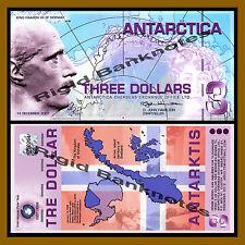 Antarctica $3 Dollars, 14 December 2007 Polymer Unc