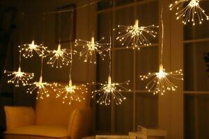 1.2m Firework Christmas Curtain Lights With 235 Warm White LED's Festive Decor