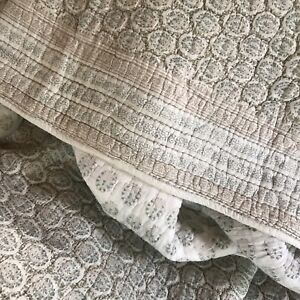 """Retired Pottery Barn Bedspread Coverlet Long Twin 108"""" x 84"""" Sage Green Taupe"""