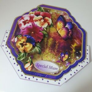 Handmade Beautiful colors card pansy & pretty butterfly Birthday card