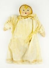Vintage Doll Cloth Handmade Painted Face Muslin Baby Toy Nightgown Old Folk Art