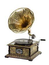Nostalgie Grammophon Gramophone Grammofon Schellackplatte Trichter im Antik-Stil