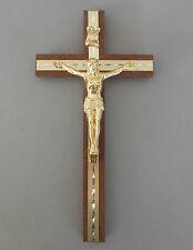 Wandkreuz Holz m. Metallkörper u. Stäben goldfarben ca. 21 x 11 cm  AK 05/47