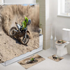 Mountain Motorcycle Shower Curtain Toilet Cover Rug Bath Mat Contour Rug