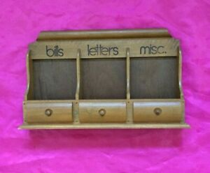 Vintage Wall Mount Wooden 3-Slot Mail Letter Bill Rack Organizer Holder - Nice!!