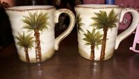 Fiji Palm Trees Handpainted Tabletops Unlimited Coffee Cups Mugs Set Of 2