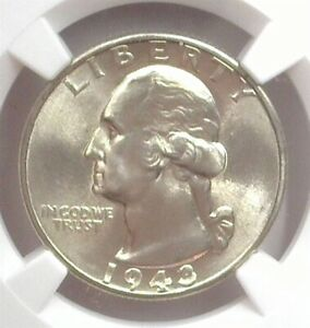 1943 WASHINGTON SILVER 25 CENTS NGC MS 66 LISTS FOR $70!
