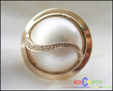 P3026 HUGE REAL 20mm SOUTH SEA MABE PEARL RING 14K SOLID GOLD