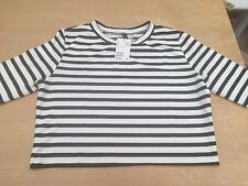 H&M Striped Short Sleeve Cropped Loose T Shirt Size L BNWT White/Black Sold Out