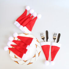 10PCS Christmas Caps Besteck Halter Gabel Löffel Bag Weihnachts Dekor Tasche DE