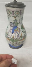 Antique French Signed Majolica Maiolica Faience Pitcher Jug Pewter As Is