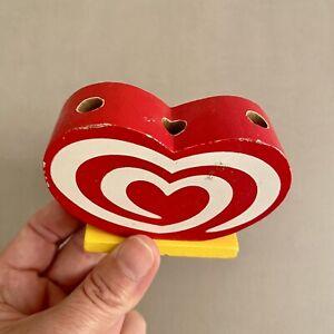 Holz ✅ Langnese-Eis Stifte-Halter 6x8x3cm Werbung gebracht Herz Logo Rot gelb