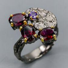Handmade SET Natural Rhodolite 925 Sterling Silver Ring Size 7/R113902